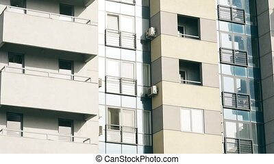 abstract apartment building establishing shot - Facade of a...