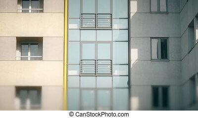abstract apartment building establishing shot