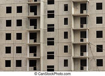 Facade of a new apartment building, under construction