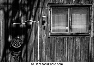 Facade of a small wooden house