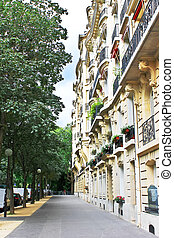 Facade of a traditional building in  Paris, France