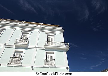 facade of a typical colonial house in the city of Cienfuegos, Cuba