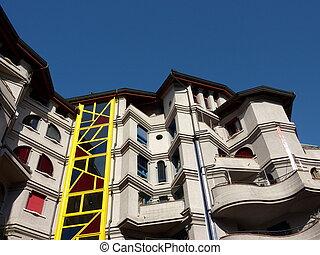 Facade of an eccentric building