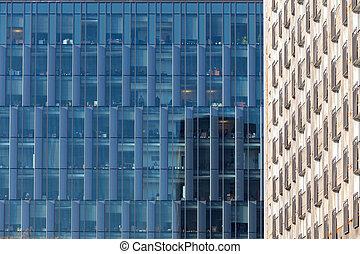 Facade of an office glass building.