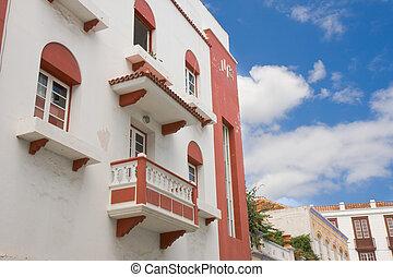Facade of an old building at Santa Cruz, Canary Islands