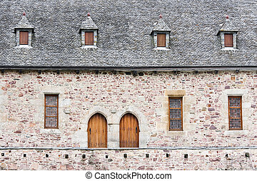 Facade of an old castle in France