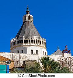 Facade of Annunciation Cathedral in Nazareth, Israel