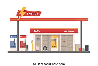 Facade of building of petrol, gas or filling station isolated on white background. Facility selling fuel or gasoline equipped with petroleum pumps. Colorful vector illustration in flat cartoon style.