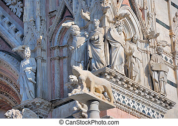 The ancient cathedral of Siena is one of the most beautifl chuerch in Italy