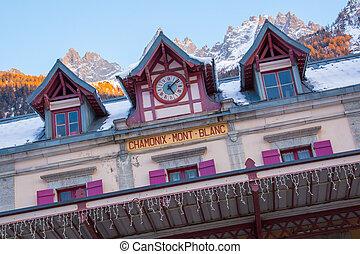 Facade of Chamonix train station near Mont Blanc, France,...