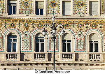 Facade of Government Palace on Piazza Unita d'Italia in Trieste, Italy