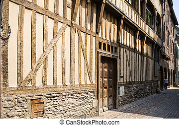 facade of half-timbered house on street in Troyes