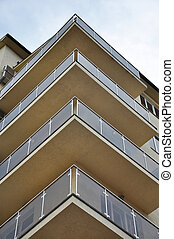 Facade of house with balcony