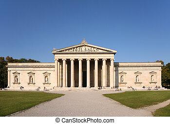 Facade of house with columns. Glyptothek. Munich