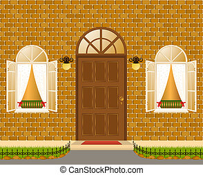 Facade of house with windows.vector