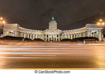 Facade of Kazan Cathedral at night in St. Petersburg, Russia