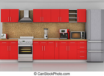 Facade of kitchen. Front view to red kitchen with...