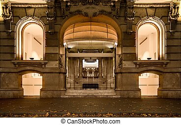 Facade of luxury shop in Barcelona at night