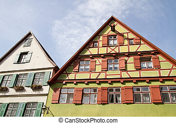 Facade of medieval houses in Dinkelsbuehl, Franconia, Germany