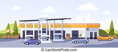 Facade of modern gas station building with cars arriving and leaving for refueling or filling with petrol, gasoline or diesel. Colorful flat vector illustration