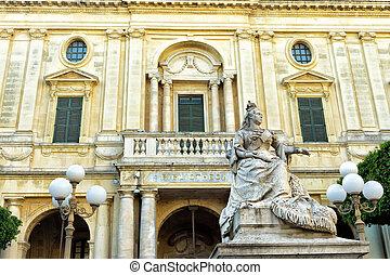 Facade of National Library in Valletta, Malta