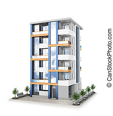 Facade of new modern apartment building. 3d illustration
