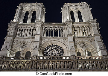 Facade of Notre Dame at Night