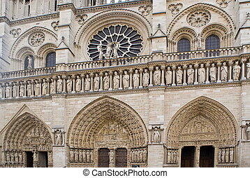 Facade of Notre-Dame Cathedral, Paris - Facade's details of...