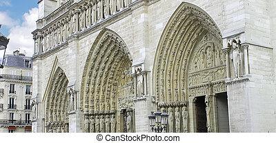 Facade of Notre Dame de Paris. France