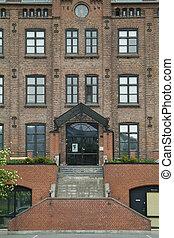 Facade of old brick building