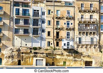 Facade of Old Buildings in Valletta, Malta