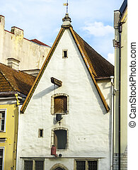 facade of old merchants house in old Town in Tallinn,...
