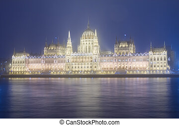 facade of parliament at night, Budapest