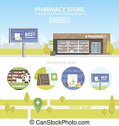 Facade of pharmacy in the urban space, the sale of drugs and...