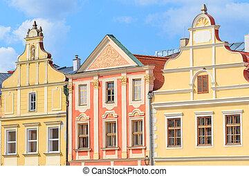 Facade of Renaissance houses in Telc, Czech Republic (a...