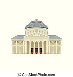 Facade of Romanian Athenaeum. Famous landmark of Bucharest....