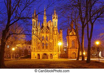 Facade of Saint Anne church in Vilnius, Lithuania.