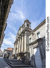 Facade of San Bartolome baroque church in Pontevedra city