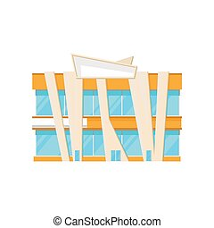 Facade of shopping mall, modern city building architecture vector Illustration