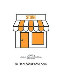 Facade of shops, supermarkets, marketplace. Pictogram icon...