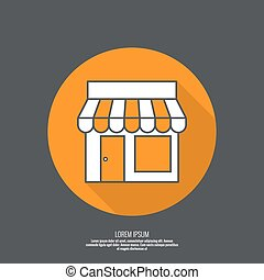 Facade of shops, supermarkets, marketplace. Pictogram icon ...