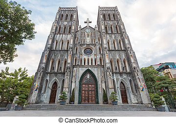 Facade of St. Joseph Cathedral in Hanoi, Vietnam - The...