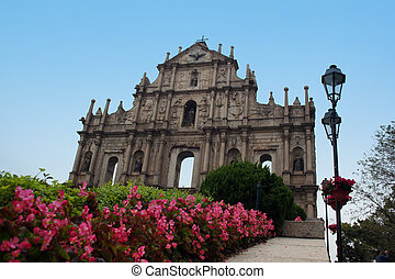 Facade of St Paul\\\'s Church in Macau - The facade of St....