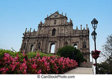 The facade of St. Paul's church in Macau - a legacy of Portuguese rule.