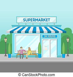 Facade of supermarket building, 24 hour, front view of city house cartoon vector Illustration