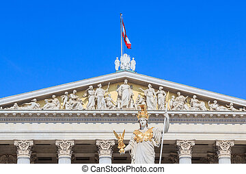 Facade of the Austrian Parliament with Pallas Athene