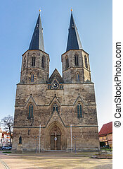 Facade of the Basilika St. Cyriakus in Duderstadt, Germany