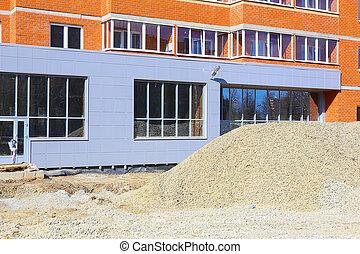 facade of the building under construction