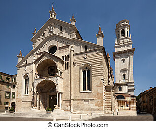 facade of the catholic middle ages romanic cathedral of San ...