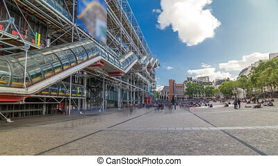 Facade of the Centre of Georges Pompidou timelapse...